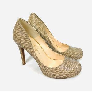 Jessica Simpson calie sparkly gold champagne heels